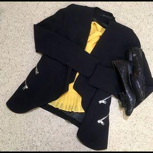 Zara open front draped black blazer!